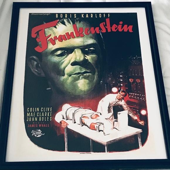 frankenstein Other - Framed print vintage Frankenstein movie poster